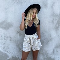 Hidden Message Floral Linen Shorts