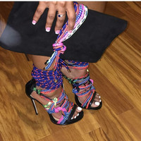 Zelina Colorful Cord Leather Sandals