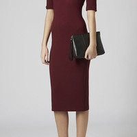 Wine Red Half Sleeve Midi Dress