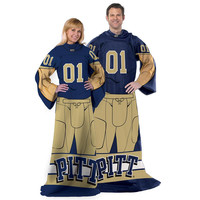 Pittsburgh Panthers NCAA Adult Uniform Comfy Throw Blanket w- Sleeves