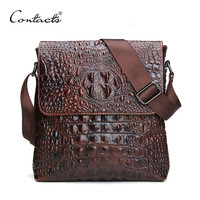CONTACT'S 2016 Genuine Leather Men Bag For Mele Crocodile Style Men's Business Messenger Bag Tablet PC Handbag For High Quality