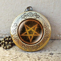 pentagram Locket necklace, pentagram locket necklace - ready for gifting - buy 3 get 4th one free