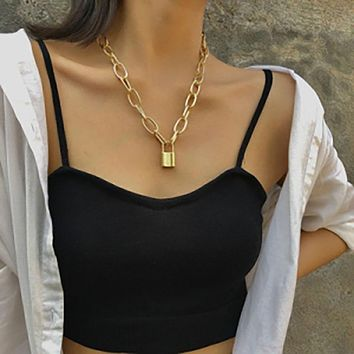 Fashion Choker Necklace Golden Plated Pendant Charms Necklace For Women Clavicle Chain Necklace Jewelry