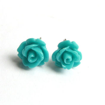 Teal Flower Earring Teal Rose Studs Bridal Earrings