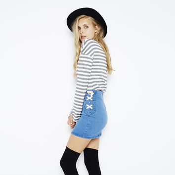 Route 66 Denim Mini Skirt by MINKPINK
