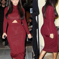 Long Sleeve Bodycon Dress Red