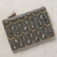 Beaded Bastina Clutch by Anthropologie Silver One Size Clutches