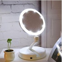 Foldable Magnifying Mirror with LED Lights