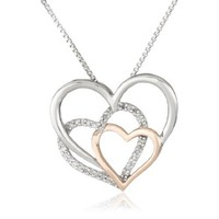 """Sterling Silver and 14k Rose Gold Diamond Accent Triple Heart Pendant Necklace,18"""""""