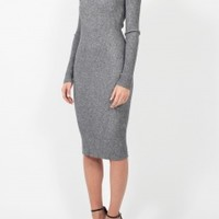 Long sleeve ribbed sweater dress in gray | co.lective | brands, curators, co.lectors