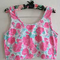 Vintage 80s M - pink and green floral print crop top tank sexy grunge sleeveless