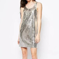 Pleated Golden Metal Sleeveless Dress