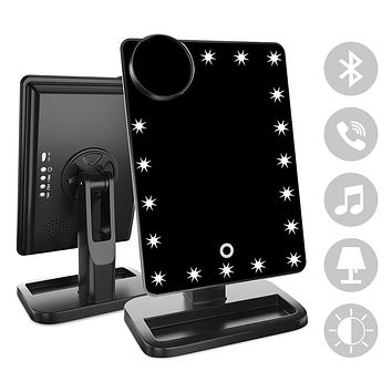 FENCHILIN Makeup Mirror - 20 LED Lights Cosmetic Mirror & Touch Screen Dimmable and Removable 10X Magnifying,180° Rotation Vanity Mirror with Lights (Bluetooth-Black) Black