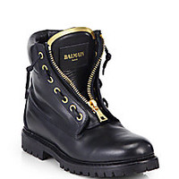 Balmain - Ranger Leather Ankle Boots - Saks Fifth Avenue Mobile