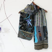 Handmade mohair men scarf, Blue black scarf, World toned scarf, Scarf Unique Christmas Gifts for Men, Design scarf, Winter scarf Unisex
