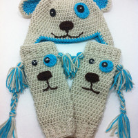 Crochet Puppy Hat and Leg Warmer Set 100% Acrylic Off White, Turquoise and black, Available in Different Sizes for Both Boy and Girl.