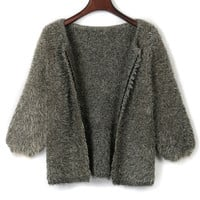 Gray 3/4 Sleeve Open Front Fluffy Cardigan