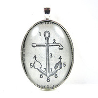 Dictionary Illustration Pendant -- Anchor -- from Vintage, in Glass Tile Oval