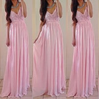 V-neck Solid Sleeveless Backless Pleated Lace Chiffon Splicing Dress