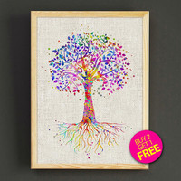 Tree with Roots Watercolor Art Print Tree Poster House Wear Wall Art Decor Gift Linen Print - Buy 2 Get FREE - 250s2g