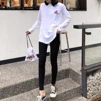 """""""Champion"""" Women All-match Powerpuff Girls Fashion Solid Color Letter Logo Embroidery Long Sleeve Sweater Tops"""
