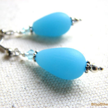 Ice Blue Earrings - Light Blue Opaque Glass Tear Drop Earring, Sea Glass Dangle Earrings with Crystal