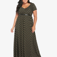 Belted Mitered Stripe Maxi Dress