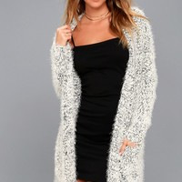 Alpine Terrace Black and White Long Cardigan Sweater