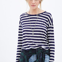 Linen-Blend Striped Top