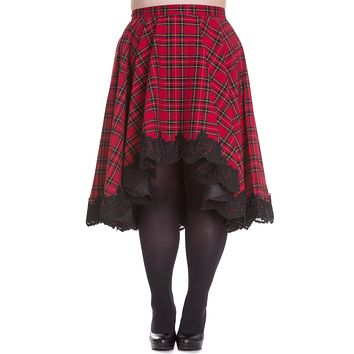 Victorian Rock Red Royal Stewart Tartan High-low Flare Circle Skirt