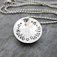Petite / Dainty Mother's Necklace - Personalized with Names - Hammered Edges and Domed / Cupped