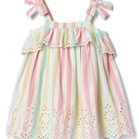 Pastel stripe eyelet bow dress | Gap