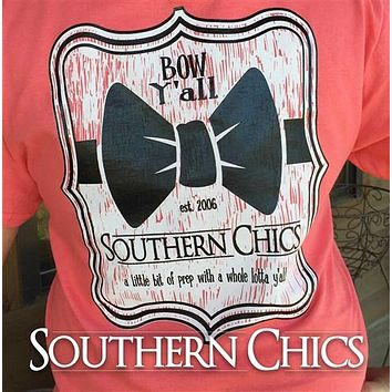 SALE Southern Chics Big Bow Y'all Prep Country Girlie Bright T Shirt