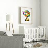 Up Balloon House Watercolor Art Print