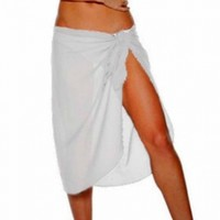 Luxury Divas White Sarong Knee Length Georgette Beach Wrap