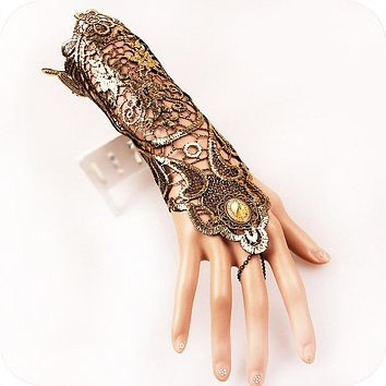 Japanese Harajuku Steampunk Gloves Lolita Loli Retro Gold Lace Women's Gauntlet Gothic Bracers Accessories Manopla