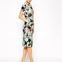 ASOS Wiggle Dress in Textured Large Floral Print