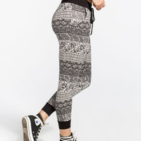 Full Tilt Paisley Ethnic Print Womens Jogger Pants Black/Grey  In Sizes