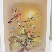 Set of 4 Vintage Andres Opinas Lithographs of Birds