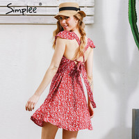 Simplee Backless navy floral print short dress Women back strap high waist summer dress Vintage red boho beach dress vestidos