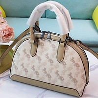 Bunchsun COACH Fashion New Horse Car Print Leather Handbag Shoulder Bag Crossbody Bag