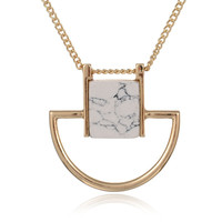 Gift Shiny Stylish Jewelry New Arrival Ladies Strong Character Fashion Turquoise Sweater Chain Necklace [8581990983]