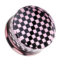 Classic Checker Inlay Double Flared Ear Gauge Plug