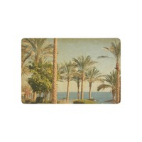Autumn Fall welcome door mat doormat  Home Decor, Vintage Retro Beach with Palm Trees amid the Blue Sea and Sky AT_76_7