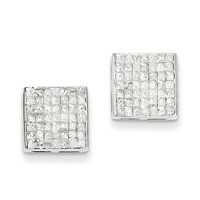14k White Gold Princess AA Diamond Screwback Earrings XE1543AA