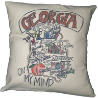 Southern Apparel and Serendipity Roadmap Pillow Georgia