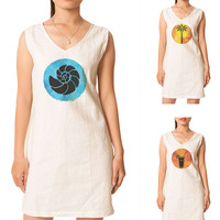 Women Summer Hand Drawn Icons Printed Vintage Linen Mini Shift Dress WDS_02
