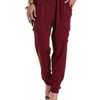 Oxblood Drawstring Cargo Jogger Pants by Charlotte Russe