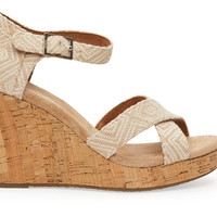 TOMS Natural Woven Diamond Women's Strappy Wedge Natural