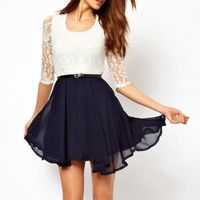 Chiffon Dress with Lace Insert
